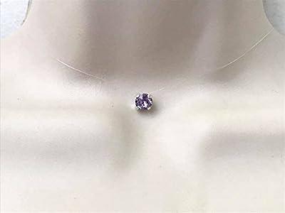 Collier ras du cou strass de swarovski cristal mauve fil de nylon transparent