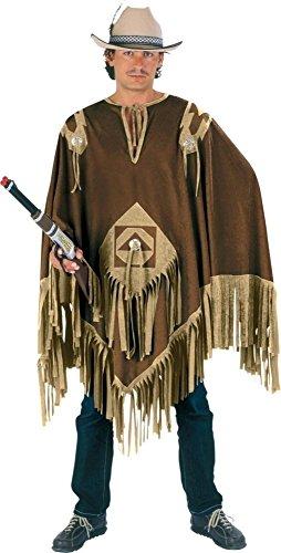 Cowboy Poncho braun für Erwachsene | Einheitsgröße| 1-teiliges Western Kostüm | Indianer Unisex Faschingskostüm | Sheriff Verkleidung für Karneval