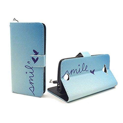 König-Shop Handy-Hülle für Acer Liquid Z530 Klapp-Hülle aus Kunst-Leder | Inklusive Panzer Schutz Glas 9H | Sturzsichere Flip-Case in Blau | Im Smile Motiv Blau