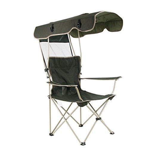 HM&DX Camping klappstuhl außen Mit Schatten Baldachin,Sonnenschutz Tragbare Heavy-Duty Campingstühle klappstuhl Mit becherhalter Für Strandgarten Angeln -Armeegrün