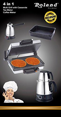 4 in 1 Set - Multigrill (Granitbeschichtung) - Kasserolle (Granitbeschichtung) - Teekocher & Kaffee Kocher (Wasserkocher Pizza Grill)