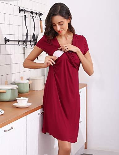 d6e165bf684 Hawiton Femme Robe Patineuse maternité d allaitement Robes Été Vêtements  Grossesse et maternité.
