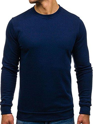 BOLF Herren Pullover Sweatshirts Langarmshirt Rundhals MIX Basic Dunkelblau_S701