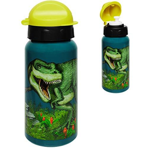 alles-meine.de GmbH Trinkflasche / Sportflasche - Dinosaurier - Dino T-Rex - Alutrinkflasche - 400 ml - aus Aluminium - BPA frei - für Kinder Aluflasche 0,4 Liter / auslaufsicher..