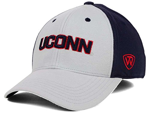 Top of the World Connecticut Huskies NCAA Jersey Memory Fit Stretch-Fitted Grau Cap Hat, Grau, Medium/Large - Jersey-stretch-cap