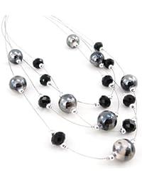 Les Trésors De Lily [J3635] - Collier 'Sissi' noir gris