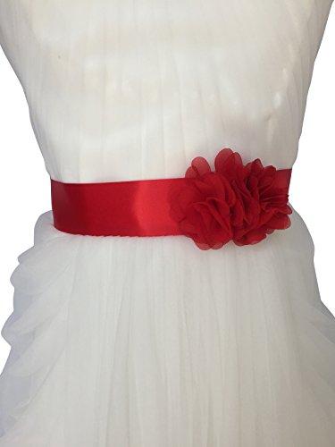 Lemandy Hecho a mano vestido de novia Sash dos flores cinturón para boda y vestido de noche B2 rojo rosso Talla única