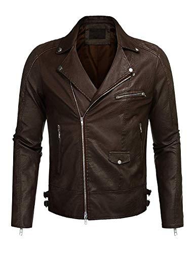 Giacca in pelle da uomo giacca motociclista festivo da abbigliamento moderna in pelle sintetica con colletto alla coreana giacca da moto da uomo giacca di transizione autunno inverno giacca invernale