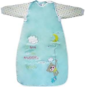 The Dream Bag 90cm Long Sleeved Travel Moon and Back Cotton Unisex Baby Sleeping Bag 1.0 Tog (Aqua)