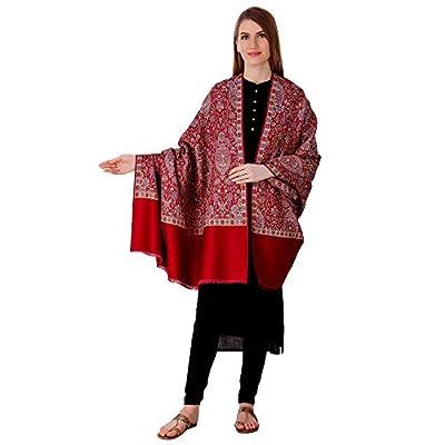 BRAVEZI Women's Woolen Jamawar Kashmiri Shawl (BZST5535, Maroon, Free Size)