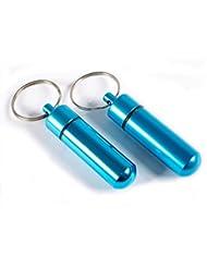 Minipastillero de aluminio tipo llavero / Cierre hermético, adecuado para llevar pequeños objetos como comprimidos y pastillas / También sirve como hermoso colgante de un regalo. Tamaño 5,2 cm * 1,4 cm. De color La luz azul.