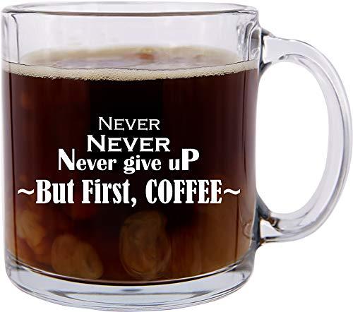 stige Glas-Kaffeetasse, Aufschrift
