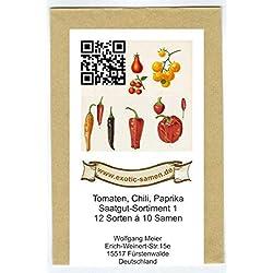 Samen - Saatgutsortiment - Set - Mix - Mischung - Peperoni - Gemüsepaprika, scharfe Chili, alte Tomatensorten - 12 Sorten á 10 Samen