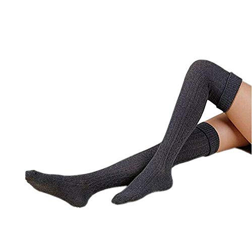 (Fletion Damen Winter Warme Beinlinge Boots Strümpfe Kniestrümpfe Stricken Lange Leggings Boot-Abdeckung Socken, Dunkelgrau)