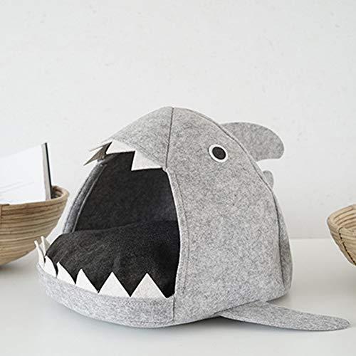 Hihey Haustier Bett Haus Filz Fisch mundförmige Indoor Pet Nest Bett Rutschfeste weiche Faltbare Katze Welpen Bett Reise Welpen Höhle Kennel -