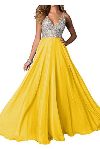 Toscana sposa Exquisite NEU pietra Scollo a V Traeger sera vestiti ball vestiti prom abiti a lungo linea Oro
