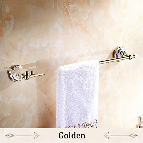 S-Senrohy Europäischen Stil Goldene Kristall Massivem Messing Handtuchhalter Einzigen Handtuchhalter Bad-Accessoires Golden -
