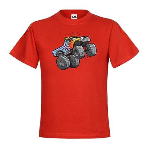 dress-puntos Kids Kinder T-Shirt Monster Truck Jumping drpt-kt01021-50 Textil red / Motiv farbig Gr. 152/164