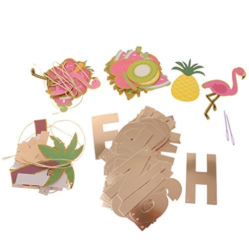 MagiDeal-Bandera-Colgante-de-Papel-Tarjetas-Diseo-con-Flamingo-Letras-Frutas-Guirnalda-Tropical-Hawaiano-Decoracin-de-Fiesta-de-Playa-de-Verano