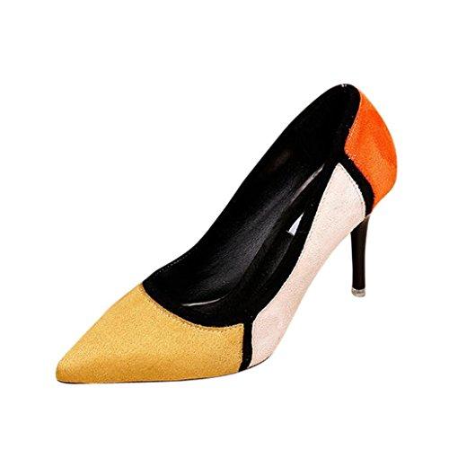 wawer Primavera de las mujeres beiläufige puntiaguda con gran–Zapatos de zapatos de tacón 8.5cm amarillo amarillo Talla:38