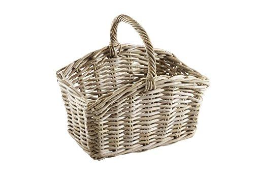 Einkaufskorb Picknickkorb aus robstem Rattan handgeflochten 41x26x37 cm