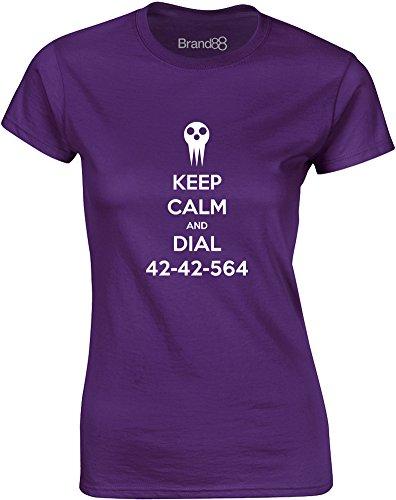 Brand88 - Keep Calm and Dial 42-42-564, Gedruckt Frauen T-Shirt Lila/Weiß