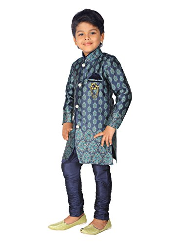 Ahhaaaa Kids Ethnic Boy's Indo-Western Festive and Party Wear Sherwani and Breeches...