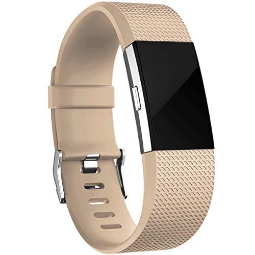 HUMENN Armband Kompatibel mit Fitbit Charge 2, Charge 2 Bänder Weich Sports Ersetzerband Fitness Verstellbares Uhrenarmband für Fitbit Charge2, Groß Nussbaum Großes Armband