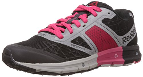 Reebok Women's One Cushion 2.0 Citylite Silver Met,Black,Blazing Pink and Solar Yellow Running Shoes – 5 Uk 41PuSgWop6L