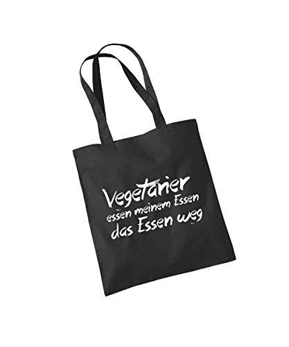 -- Vegetarier essen meinem Essen das Essen weg -- Baumwolltasche Schwarz
