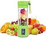 SHOPPOWORLD 4 Blades Portable USB Electric Blender Juicer Cup Plastic Fruit Juicer Grinder 380ml Juice Blender Fruit Juicer Bottle (Multicolour)