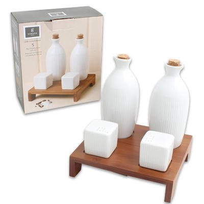 Gibson Home Table Compliments, 5 Piece Condiment Set with Salt & Paper Shaker, Oil/vinegar Bottles, and Tray by Gibson