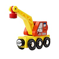 Vkospy Compatible with Wooden Track Small Train Set Crane Toy Children Boys Holiday Birthday Gift