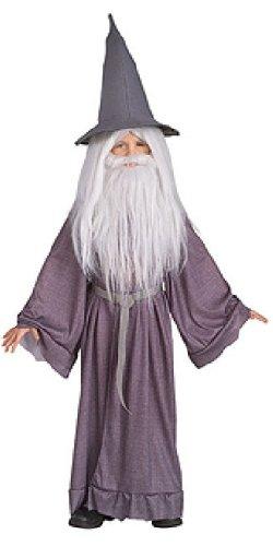 Gandalf der Graue - Herr der Ringe Kostüm für Kinder, 3-teilig: Umhang, Hut, Gürtel - S