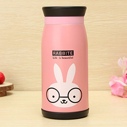 Gearmax® Cartoon Thermos Cup Bottle Stainless Steel Thermo cup Vacuum Thermal Mug 350ml(Rosa)