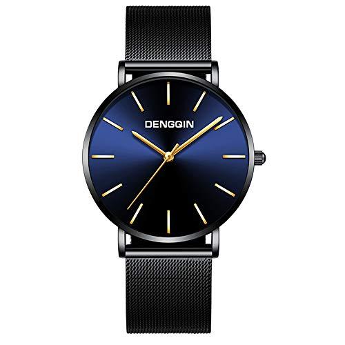 Celucke Armbanduhr Herren Ultra Dünne Schwarze Minimalistische Uhr,Männer Uhren mit Milanaise-Armband