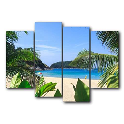 Guokee Außerhalb Wandkunst Abstrakte Palme Blauer Himmel Tropische Poster und Drucke Leinwand Malerei Wohnzimmer Schlafzimmer Wohnkultur - 30x60x2 30x80x2 (Außerhalb Palmen)