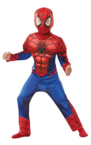 Kinder Kostüm Muskel Spiderman - Rubie's 640841s Spiderman Marvel Spider-Man Deluxe Kind Kostüm, Jungen, klein