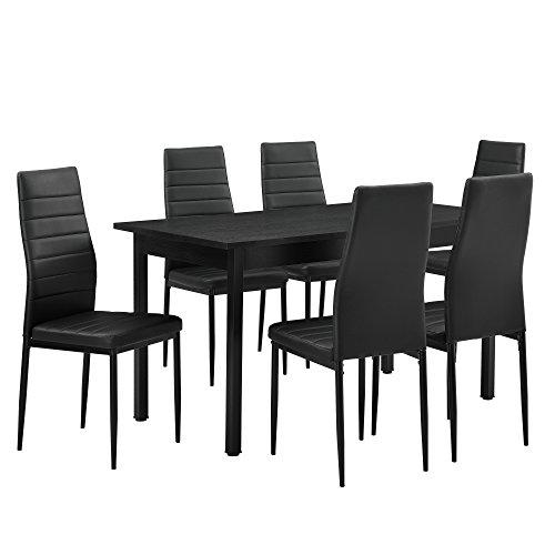 encasa-Table--manger-noir-140cm-x-60cm-x-75cm-Chaises-noir-96-cm-x-43cm