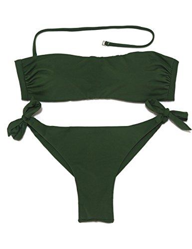 EONAR Damen Seitlich Gebunden Bikini-sets Bandeau Top Niedriger Bund Brazil-Bikinihosen (XL,Army Green) (Top-scrunch)