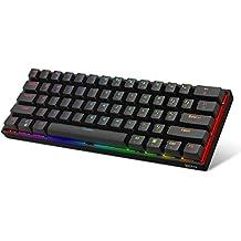 DK61E 60% mechanisch gamingtoetsenbord, RGB-achtergrondverlichting Bekabeld PBT Keycap Waterdicht Type-C Hot-swappable Compact 61-toetsen Computertoetsenbord(Gateron optische blauwe schakelaar)