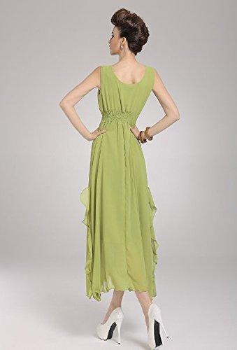 PLAER femmes Sexy V-cou irrégulier robe Bohême Plage robe Vacances Robe Soirée robe herbe verte