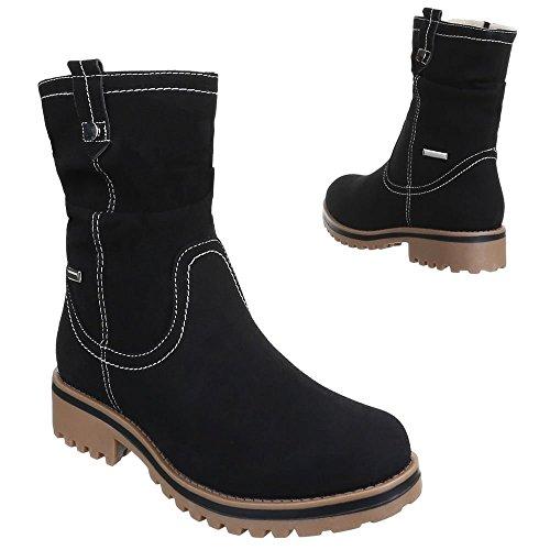 Damen Schuhe, 146-PA, STIEFELETTEN USED OPTIK BOOTS Schwarz