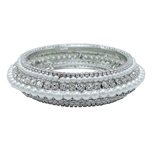 Indianbeautifulart Ethnische Designer Silvertone Armband/Churi Set Frauen AD Schmuck Geschenk Set 2 * 6 Kaufen Online