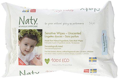 NATY Lingettes écologiques sans parfum - 56 pcs