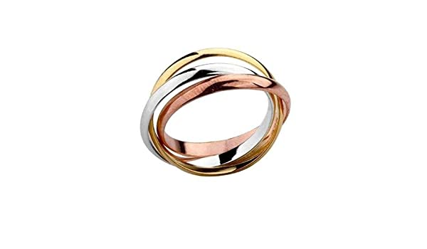 RUSSIAN WEDDING BAND RING ROSE UNISEX INTERLOCKING STAINLESS STEEL WITH SUAY GIFT POUCH - Size: M 1/2