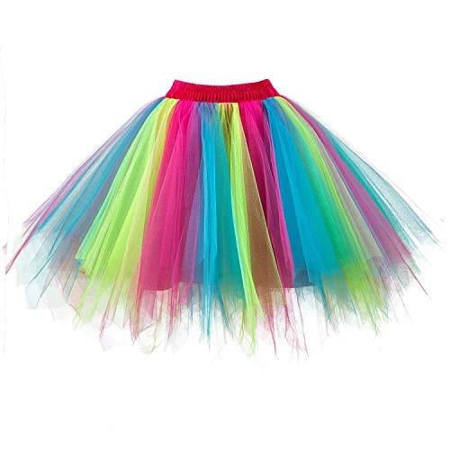 DresseverBrand Damen Petticoat 50er Rockabilly Jahre Retro Tutu Ballet Tüllrock Cosplay Crinoline Regenbogen ()