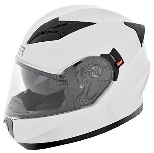 cruizer Casque Moto Intégral homologué Double Visière ece-22 – 05, blanc, Taille S