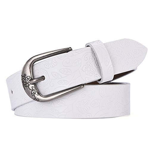 Yzibei Salvaje Lady Pure Leather Belt Retro Tallado Femenino Wide Belt Wild Jeans (Color : Blanco, tamaño : 105cm)
