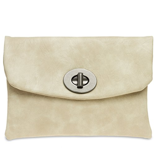 CASPAR TA339 Damen Envelope Clutch Nude